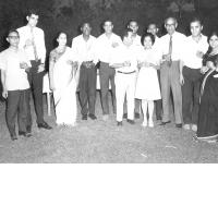 Some of the trainees attending the 1969 centralized training programme at a get together held at the residence of Dr. AN Ghosh, Director General ISI just before the conclusion of the course (from L to R) Mr. Ahmed Mohmed Abdelkader, Mr. Douglas Pandita, (